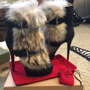 BNIB Christian Louboutin Coyote Fur Boots 39.5